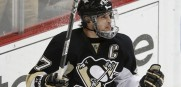 Penguins' Crosby celebrates his goal against the Islanders during the second period of Game 5 of their NHL Eastern Conference quarter-final hockey game in Pittsburgh