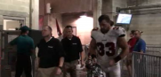 Bucs running back Peyton Hillis after suffering a knee injury