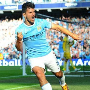 Sergio Aguero scored twice for Man City