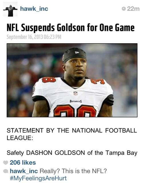 Tampa Bay Buccaneers Safety Dashon Goldson Suspended