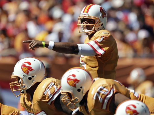 Tampa Bay Buccaneers quarterback Josh Freeman in throwback