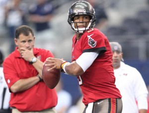 Tampa Bay Buccaneers head coach Greg Schiano and Josh Freeman
