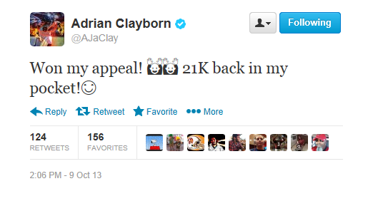 Adrian Clayborn Wins Appeal