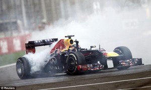 Sebastian Vettel does a burn out after winning his fourth straight F1 Drivers Championship.