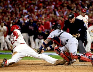 A wild night in St. Louis. First World Series game ever to end on an obstruction rule.