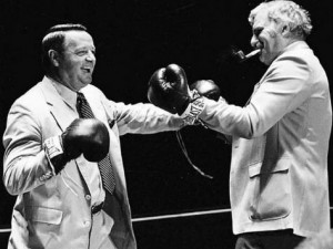 FSU coach Bobby Bowden and UM coach Howard Schnellenberger staged a mock boxing match for photographers prior to the teams' meeting in Tallahassee..