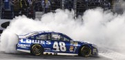 Jimmie Johnson (48) burns his tires after winning the AAA Texas 500. Regaining the Chase points lead.