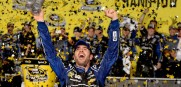 Jimmie Johnson, driver of the #48 Lowe's/Kobalt Tools Chevrolet, celebrates in  Victory Lane after winning the series championship for a record sixth time.  following the NASCAR Sprint Cup Series.