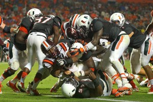 Miami could not stop Va. Tech . The Hokie have the inside track to the ACC title game against FSU.