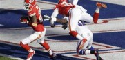 Sean Smith pics off a pass in the Bills end zone as the Chiefs stay unbeaten.