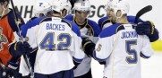 St. Louis Alexander Steen gets congratulated after scoring in the second period. The Blues blanked Florida 4-0