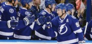 Tampa Bay Lightning center Steven Stamkos (91) celebrates with teammates after scoring against the Edmonton Oilers during the first period