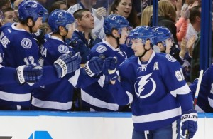 Tampa Bay Lightning center Steven Stamkos (91) celebrates with teammates after scoring against the Edmonton Oilers during the first period of last night's game in Tampa.
