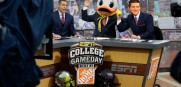 Tim Tebow on the set of ESPN College GameDay with Chris Fowler and Lee Corso (Duck Head)