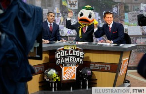 Tim Tebow on the set of ESPN College GameDay with Chris Foler and Lee Corso.
