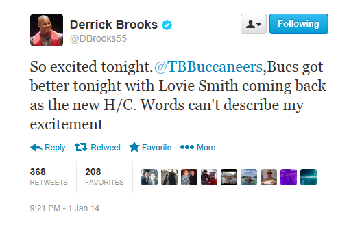 Derrick Brooks endorses Lovie Smith