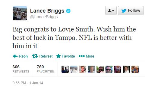 Lance Briggs endorses Lovie