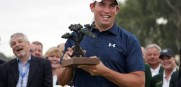 Scott Stallings holds the trophy after winning the Farmers Insurance Open in San Diego.
