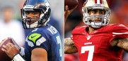 The Seahawks  Russell Wilson and the 49ers Colin Kaepernick face off in the NFC Championsip game