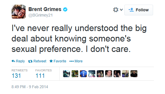 Brent Grimes Tweet Supporting Michael Sam
