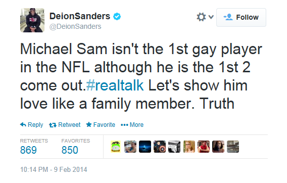 Deion Sanders Tweet Supporting Michael Sam