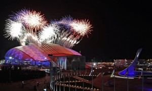 Fireworks light up the sky as Sochi welcomes the world to Russia for the start of the 2014 Winter Olympics.