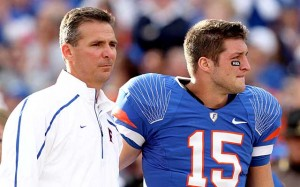 Urban Meyer and Tim Tebow help the Gators win two BCS National Championships together while at Florida.