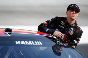Denny Hamlin put his Joe Gibbs racing Toyota on the pole for Sunday's Sprint Cup race at Bristol.