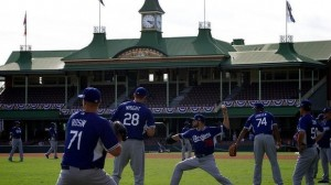 Dodgers open the season with a win over the D' Backs in Sydney.