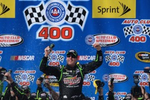 Kyle Busch became the fifth different driver to win a NASCAR Sprint Cup race this year. He won yesterday at Fontana.