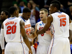 Scottie Wilbekin #5 of the Florida Gators fires up his teammates in their win over UCLA