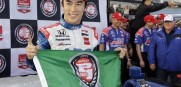 Takuma Sato, of Japan, celebrates after qualifying for the pole position for the IndyCar Firestone Grand Prix of St. Petersburg