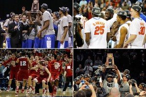 NCAA Tournament Final Four (clockwise from upper left): Kentucky, Florida, UConn and Wisconsin. (McClatchy-Tribune )