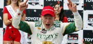 Mike Conway, of England, celebrates his win in the IndyCar Grand Prix of Long Beach auto race,