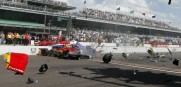 A first lap crash at the first ever INDYCAR Grand Prix of Indianapolis