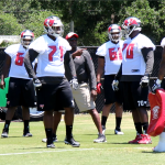 Bucs fifth-round draft picks Kadeem Edwards (71) and Kevin Pamphile (70) take a break in between drills