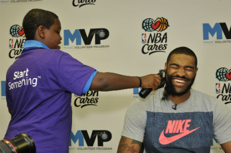 Kyle laughing with Jalen at Beards for Bigs_FM39178