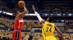 The Wizards guard Trevor Ariza was on fire from beyond the arc Monday night in Indianapolis.