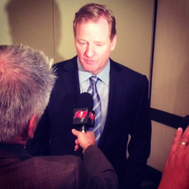 This morning, we're at a fundraiser presented by the  and NFL Commissioner Roger Goodell is here. What should we ask him
