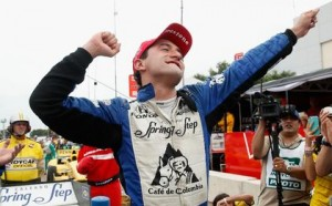 Carlos Huertas, driver of the #18 Dale Coyne Racing Dallara Honda, celebrates after winning the Verizon IndyCar Series Shell and Pennzoil GP of Houston.