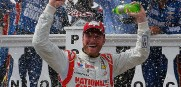 Dale Earnhardt Jr. passes Brad Keselowski late to win the Pocono 400