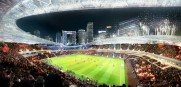 Fans looking west will see a postcard view of Downtown Miami. Stadium design by Kansas City's 360 Architecture.