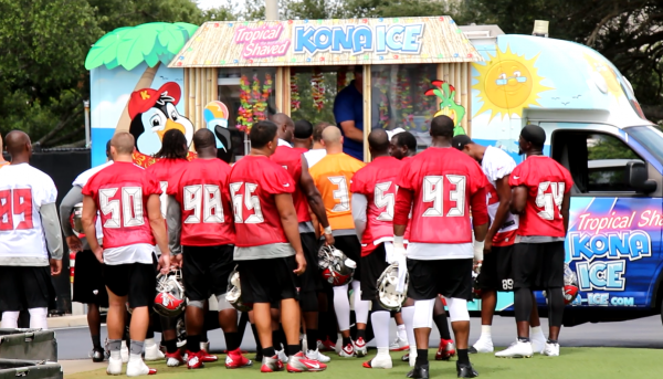 As soon as practice ended, players raced to get snow cones and strawberry popsicles
