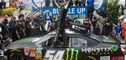 Kyle Busch celebrates in Victory Lane after winning the NASCAR Nationwide series race Saturday. He can win the Dover Triple Crown with a win this afternoon in the  Sprint Cup race.