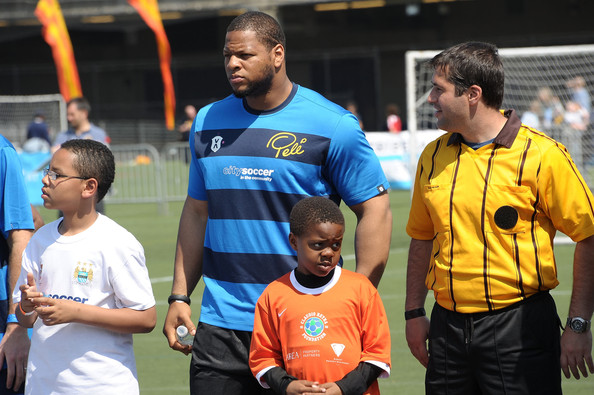 Lions DT Ndamukong Suh at a charity soccer game in 2012