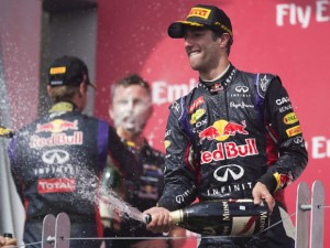 Winner of the Canadian Formula One Grand Prix Red Bull driver Daniel Ricciardo (R) of Australia sprays champagne in celebration at the Circuit Gilles Villeneuve in Montreal yesterday.