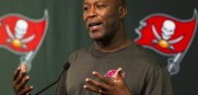 Tampa Bay Buccaneers head coach Lovie Smith at Bucs training camp