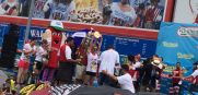 Miki Sudo celebrates winning Nathan's Hot Dog Eating Contest