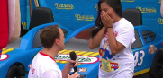 Joey Chesnut proposes to his girlfriend before winning hot dog eating contest
