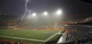 Intense lightning near Ben Hill Griffin Stadium at Florida Field caused the Gators to postpone their 2014 opener.